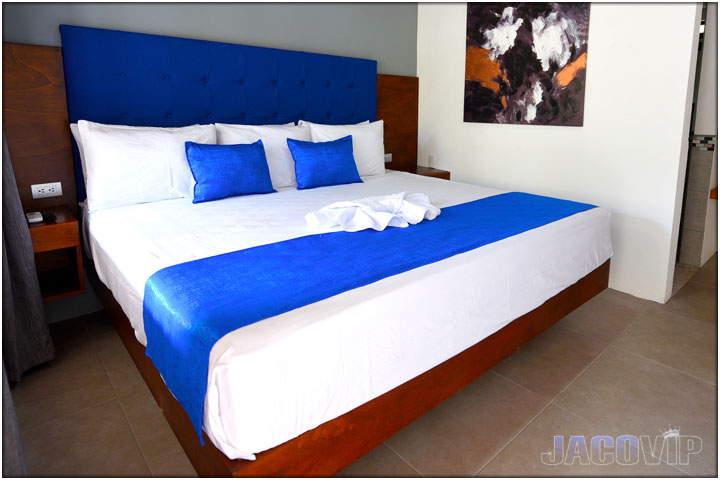 Close up of king size bed at Blue Marlin 1