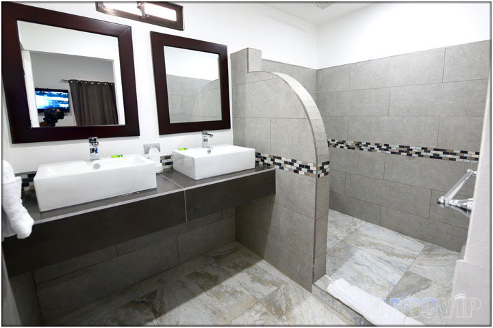 Bathroom  with sinks and large shower area