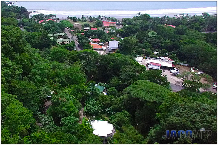 Overhead view of house and Jaco Beach