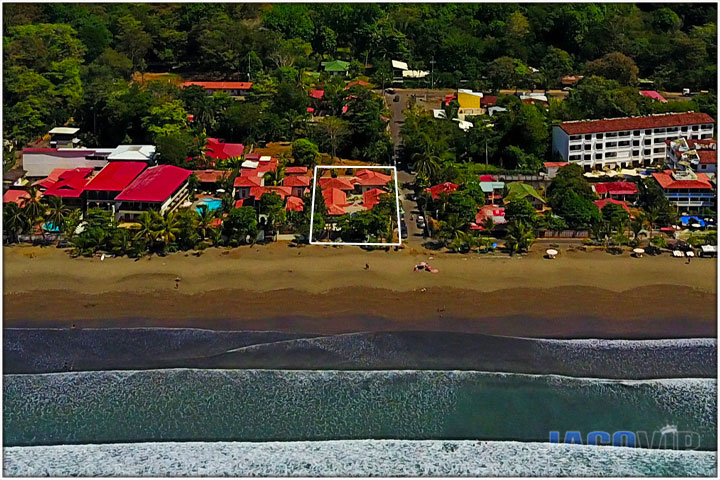 Drone photo of Jaco beach and Casa Ponte Beach Villa