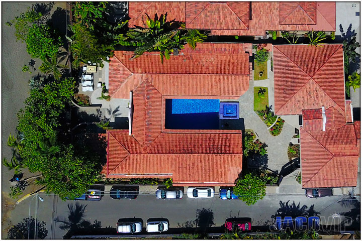 Costa Rica Vacation Rental on Jaco Beach Front Aerial View