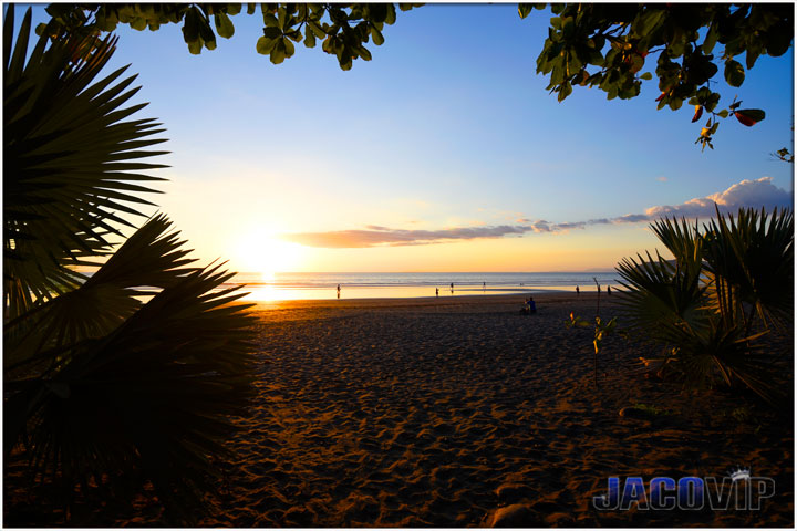 sunset at Jaco Beach in from of villa