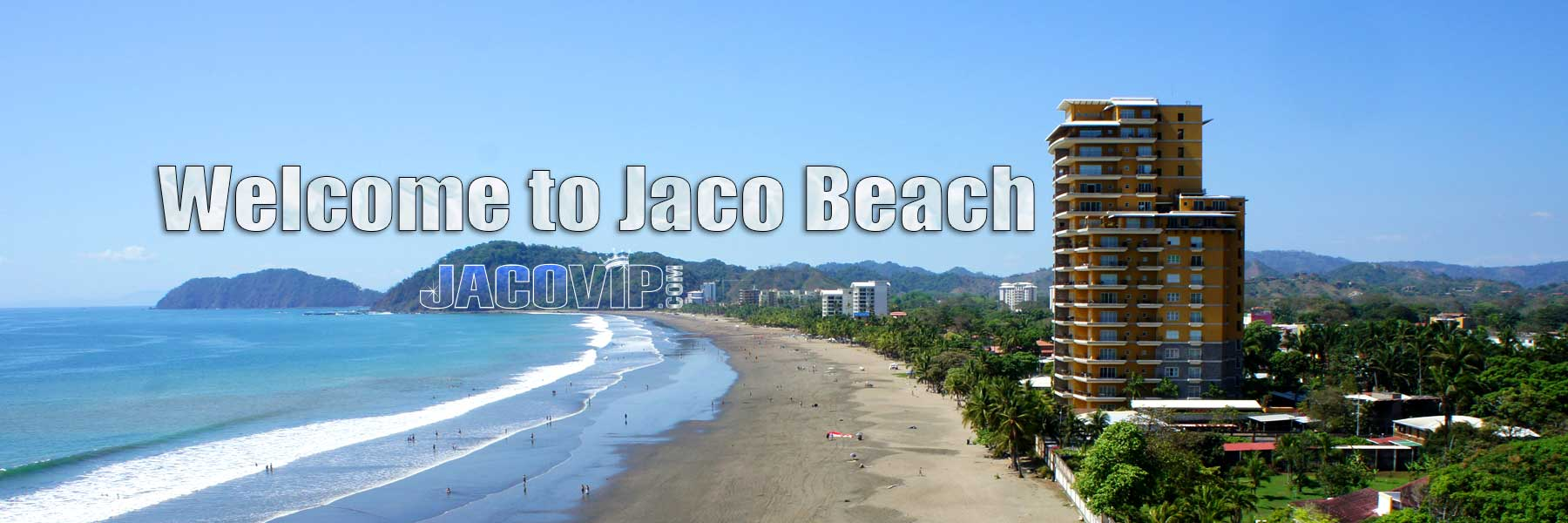 Aerial Drone view of beach in Jaco Costa Rica
