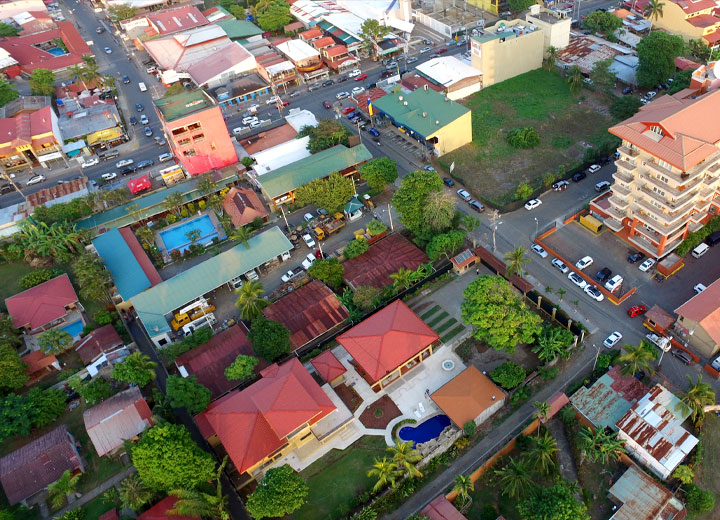 Aerial drone phoe of Jaco center
