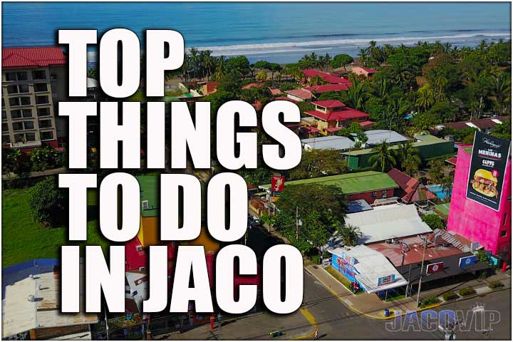 Aerial view of Jaco Beach and town center in Costa Rica