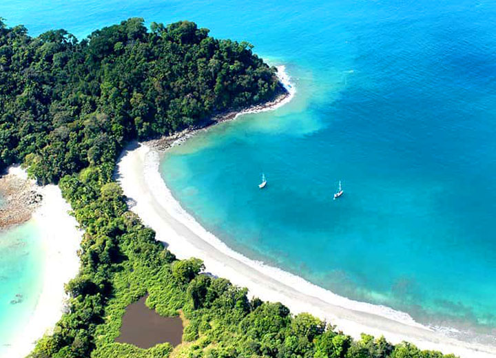 Aerial drone photo of Manuel Antonio National Park in Costa Rica
