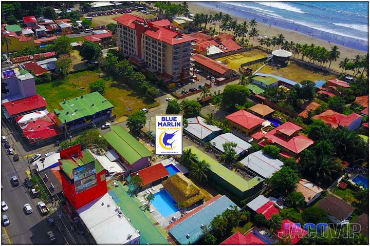 Drone photo of The Blue Marlin Hotel in Jaco Beach Costa Rica